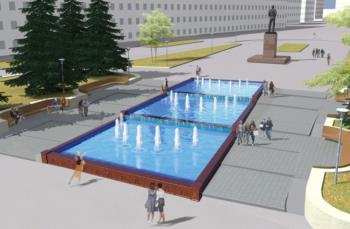 Каскадный фонтан в городе Чкаловск, Нижегородская область.